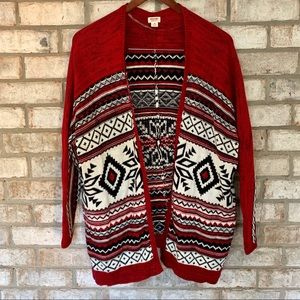 Mossimo Aztec Snowflake Red Open Cardigan Sweater